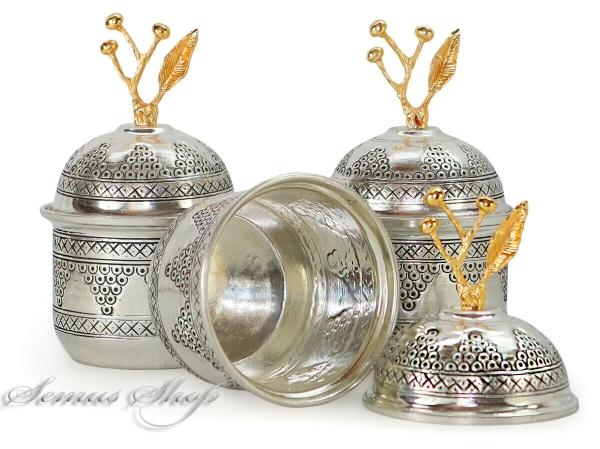 3x Orientalische Handgehämmerte KUPFER Behälter