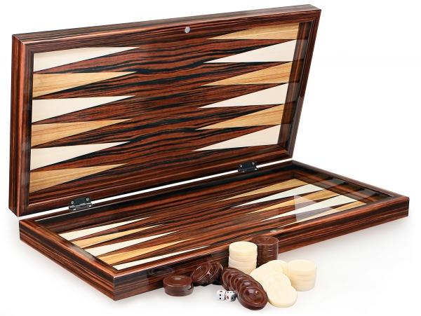 Wunderschöne Ebenholz Optik Klassik Backgammon XXL Tavla