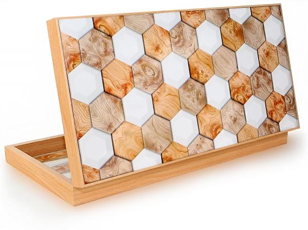 Luxus GeoWood Backgammon Tavla Intarsien Look XXL